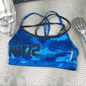 Reebok blue camouflage workout sports bra sexy
